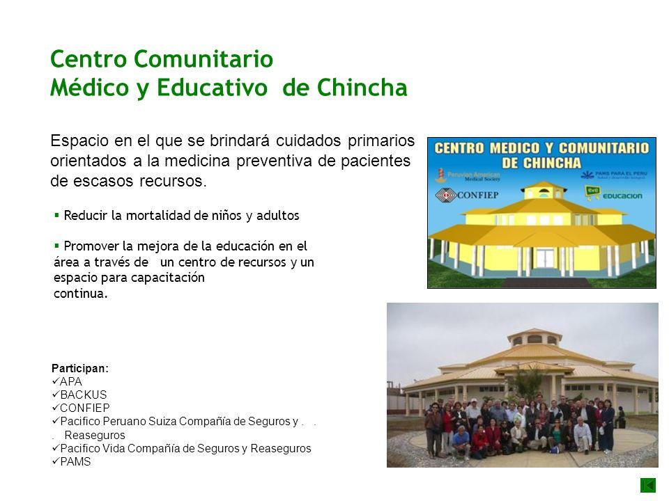 Centro Comunitario Médico y Educativo de Chincha Espacio en el que se brindará cuidados primarios orientados a la medicina preventiva de pacientes de escasos recursos.