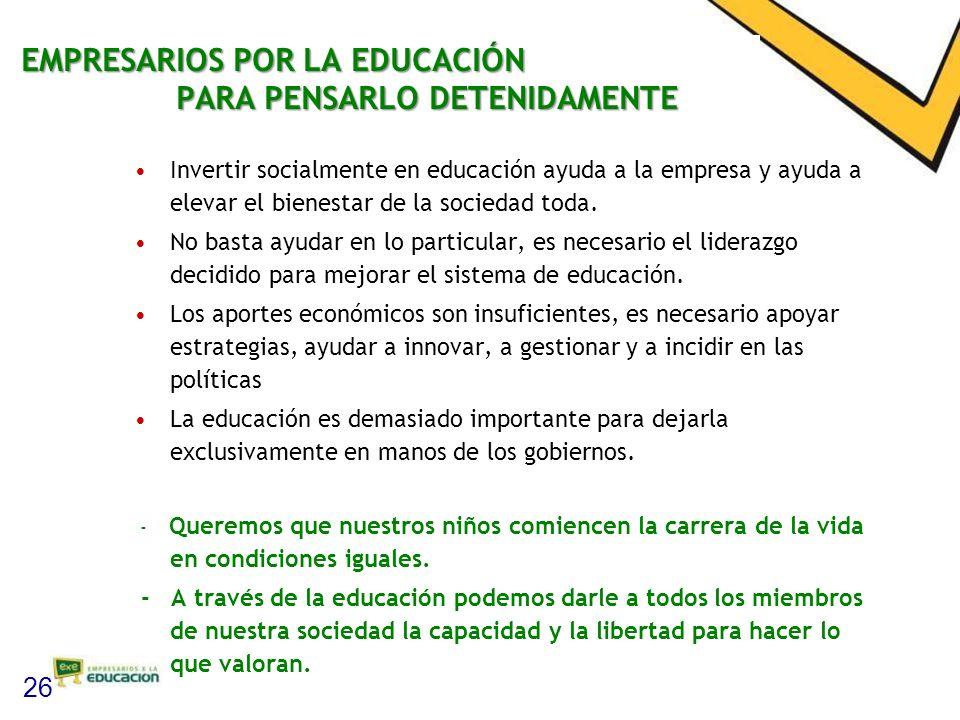 EMPRESARIOS POR LA EDUCACIÓN PARA PENSARLO DETENIDAMENTE Invertir socialmente en educación ayuda a la empresa y ayuda a elevar el bienestar de la sociedad toda.