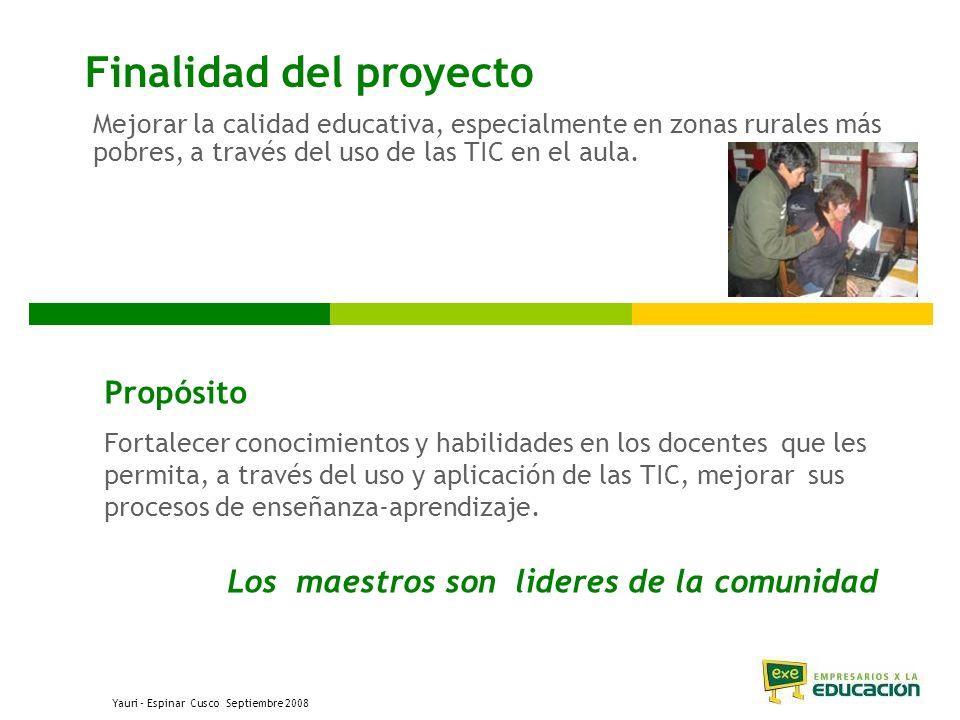 Finalidad del proyecto Mejorar la calidad educativa, especialmente en zonas rurales más pobres, a través del uso de las TIC en el aula.