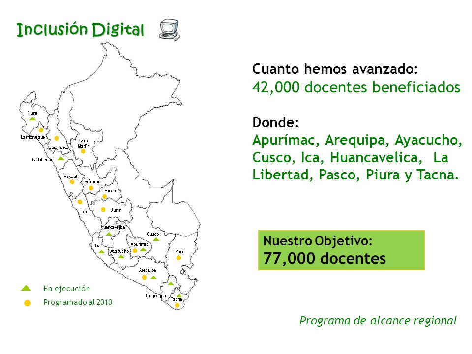 En ejecución Programado al 2010 Cuanto hemos avanzado: 42,000 docentes beneficiados Donde: Apurímac, Arequipa, Ayacucho, Cusco, Ica, Huancavelica, La Libertad, Pasco, Piura y Tacna.
