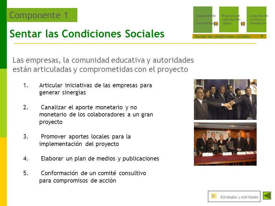 Sentar las Condiciones Sociales Las empresas, la comunidad educativa y autoridades están articuladas y comprometidas con el proyecto 1.Articular iniciativas de las empresas para generar sinergias 2.