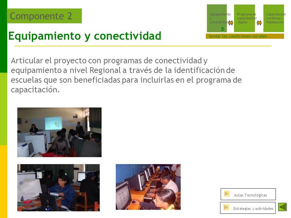 Equipamiento y conectividad Articular el proyecto con programas de conectividad y equipamiento a nivel Regional a través de la identificación de escuelas que son beneficiadas para incluirlas en el programa de capacitación.