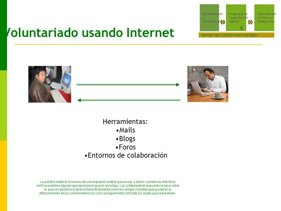 Voluntariado usando Internet Herramientas: Mails Blogs Foros Entornos de colaboración La palabra waiki la tomamos de una expresión andina que se usa a diario cuando nos referimos cariñosamente a alguien que apreciamos que es un amigo.