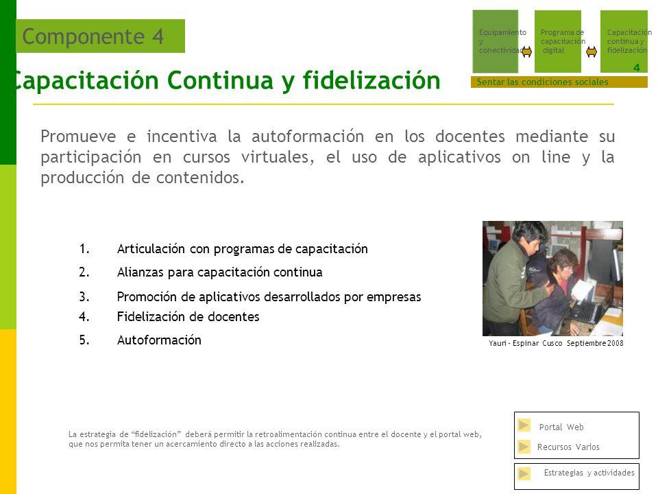 Capacitación Continua y fidelización Promueve e incentiva la autoformación en los docentes mediante su participación en cursos virtuales, el uso de aplicativos on line y la producción de contenidos.