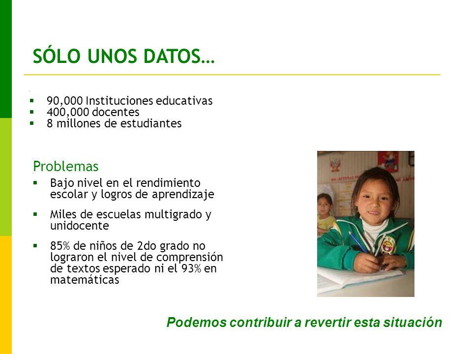 SÓLO UNOS DATOS… 1.90,000 Instituciones educativas 400,000 docentes 8 millones de estudiantes 1.