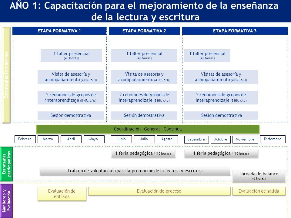 Estrategias formativas Estrategias participativas AÑO 1: Capacitación para el mejoramiento de la enseñanza de la lectura y escritura Monitoreo y Evaluación 1 taller presencial (40 horas) ETAPA FORMATIVA 1 2 reuniones de grupos de interaprendizaje (5 HR.