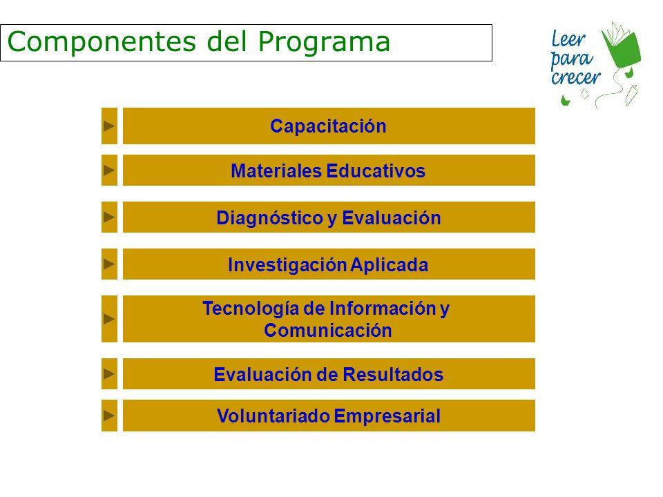 Componentes del Programa Capacitación Materiales Educativos Diagnóstico y Evaluación Investigación Aplicada Tecnología de Información y Comunicación Evaluación de Resultados Voluntariado Empresarial