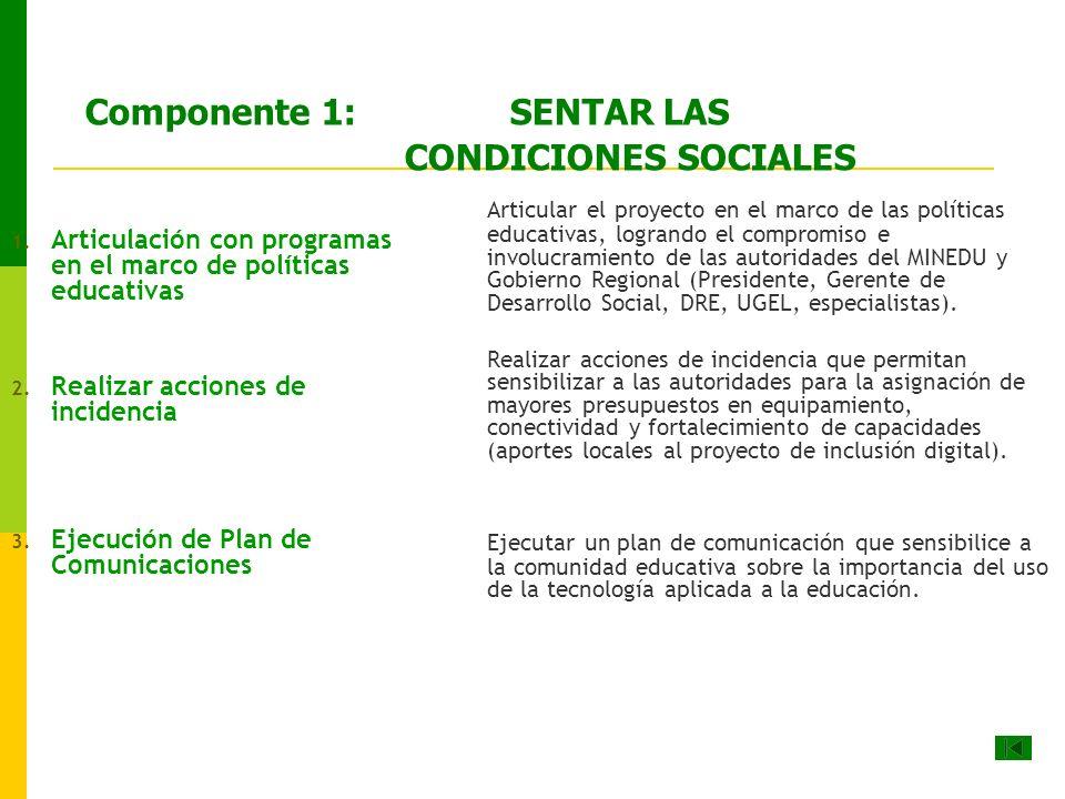 Componente 1: SENTAR LAS CONDICIONES SOCIALES 1.