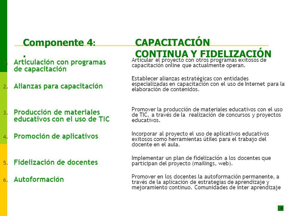 Componente 4 : CAPACITACIÓN.CONTINUA Y FIDELIZACIÓN 1.