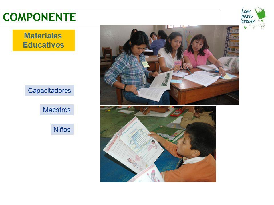 COMPONENTE Materiales Educativos Capacitadores Maestros Niños