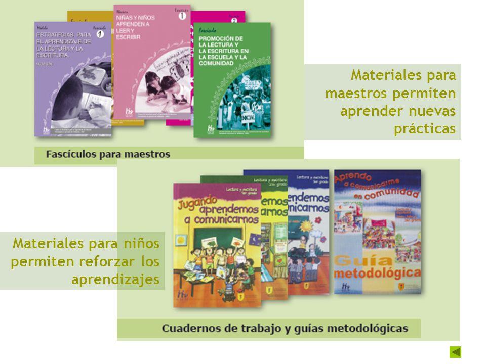 Materiales para maestros permiten aprender nuevas prácticas Materiales para niños permiten reforzar los aprendizajes