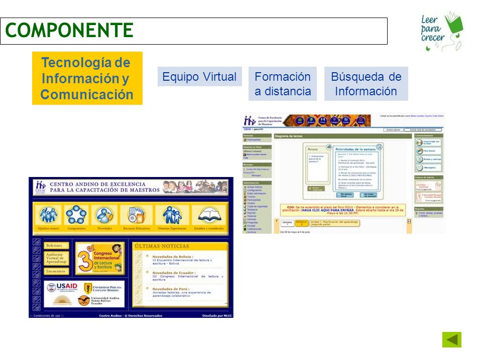 COMPONENTE Tecnología de Información y Comunicación Equipo VirtualFormación a distancia Búsqueda de Información