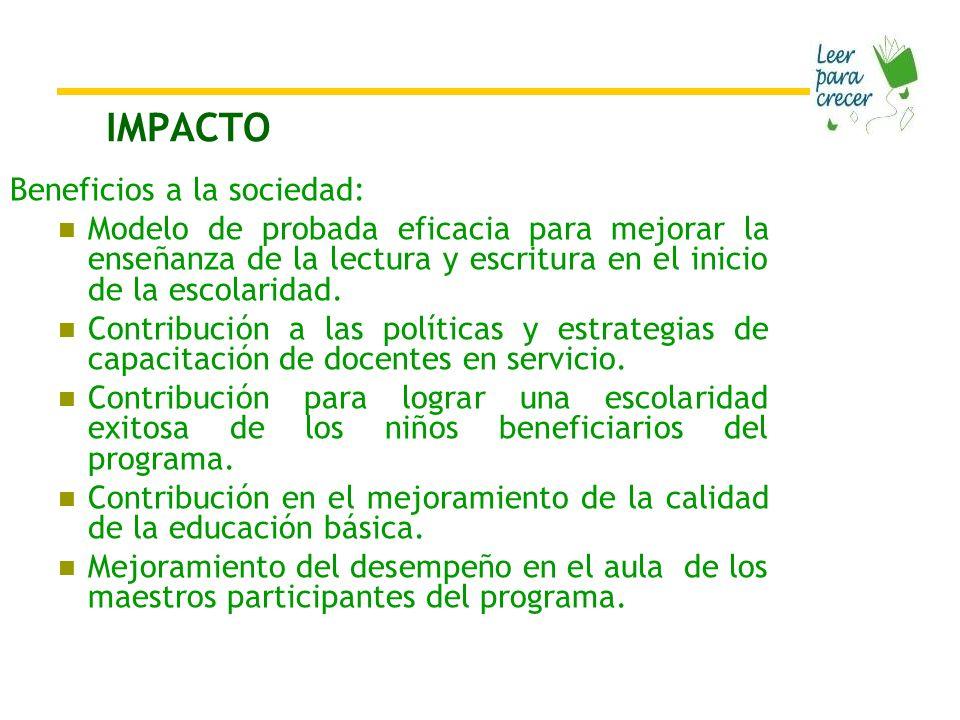 IMPACTO Beneficios a la sociedad: Modelo de probada eficacia para mejorar la enseñanza de la lectura y escritura en el inicio de la escolaridad.
