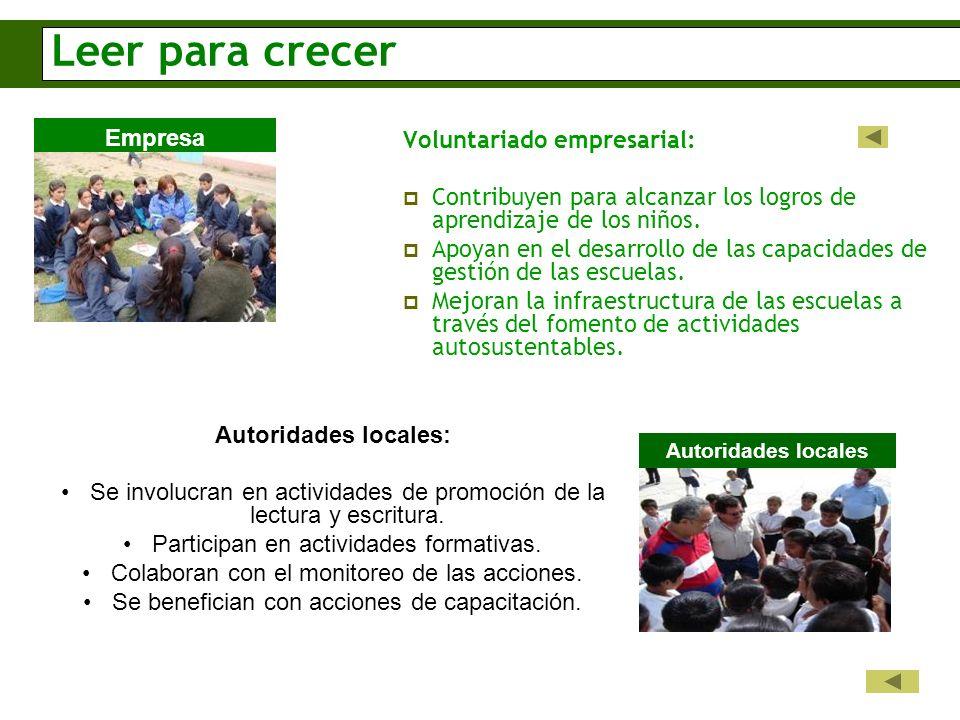 Leer para crecer Voluntariado empresarial: Contribuyen para alcanzar los logros de aprendizaje de los niños.