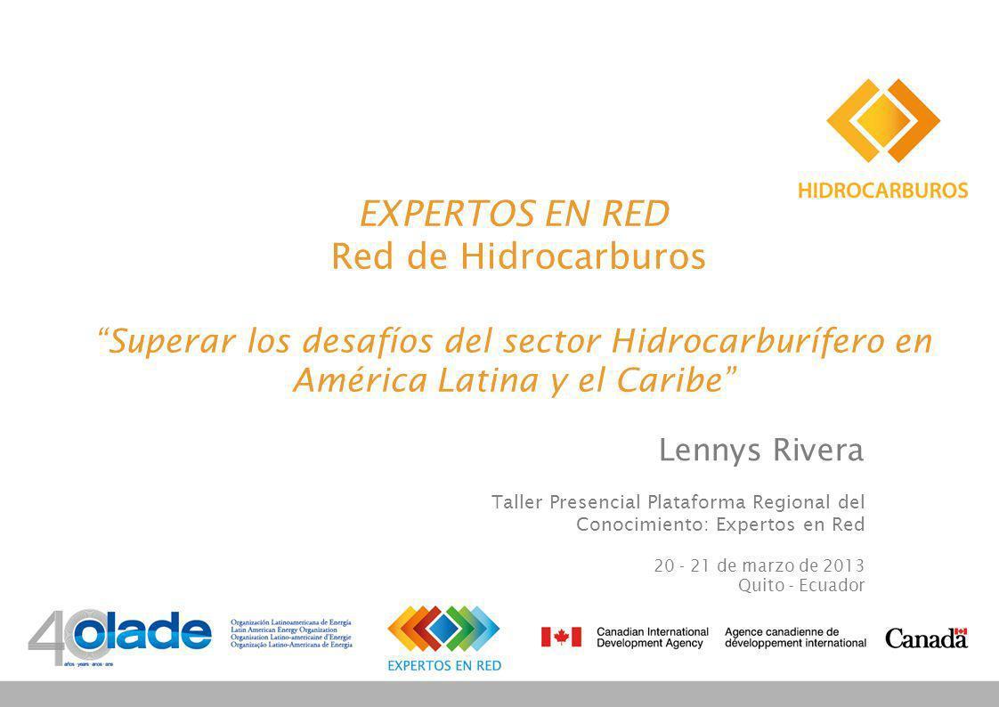 EXPERTOS EN RED Red de Hidrocarburos Superar los desafíos del sector Hidrocarburífero en América Latina y el Caribe Lennys Rivera Taller Presencial Plataforma Regional del Conocimiento: Expertos en Red 20 - 21 de marzo de 2013 Quito - Ecuador