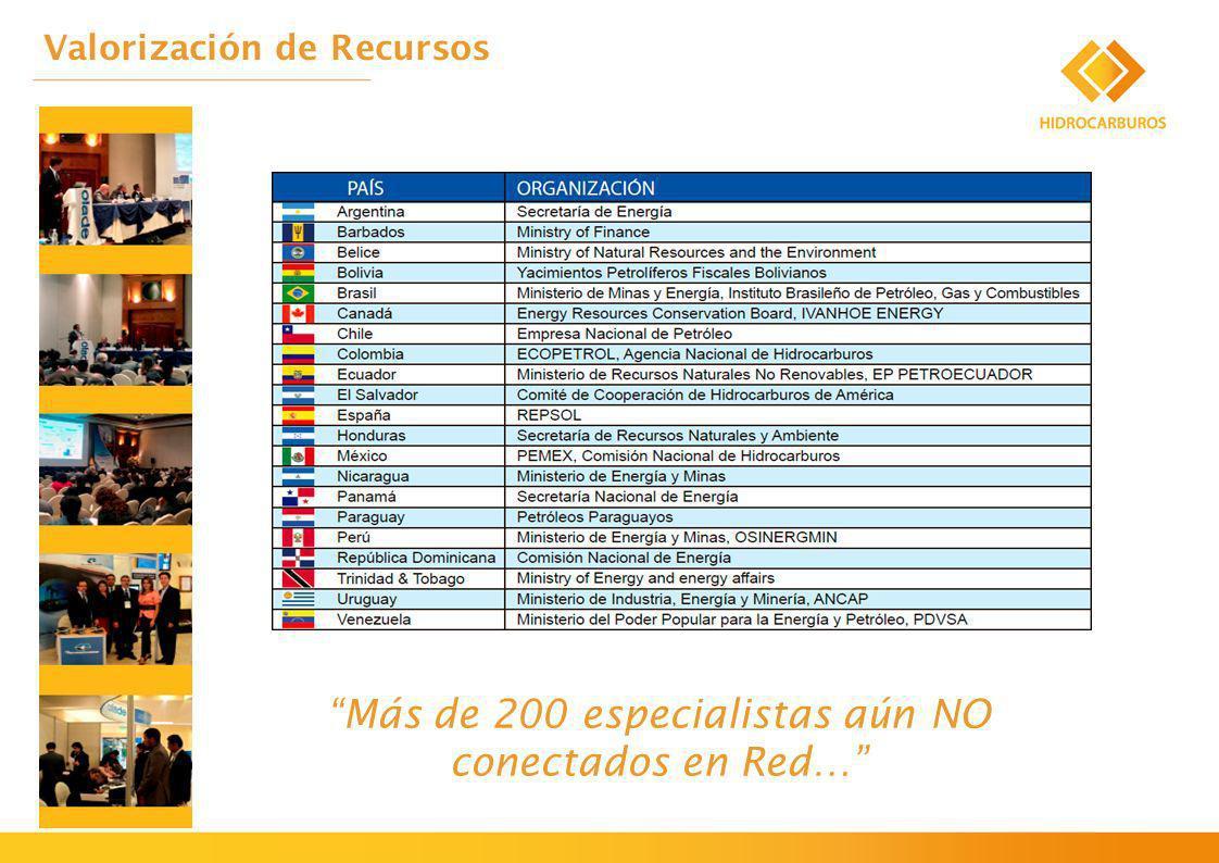 Valorización de Recursos Más de 200 especialistas aún NO conectados en Red…