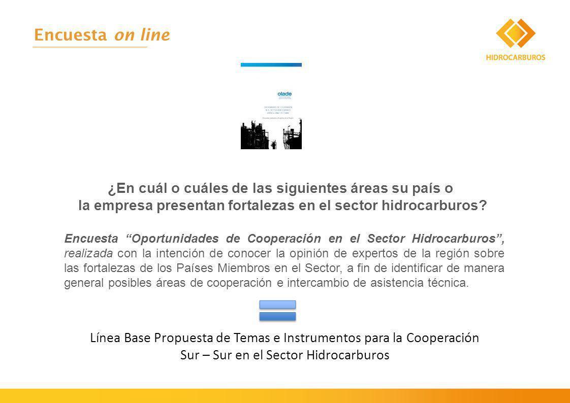 Encuesta on line ¿En cuál o cuáles de las siguientes áreas su país o la empresa presentan fortalezas en el sector hidrocarburos.