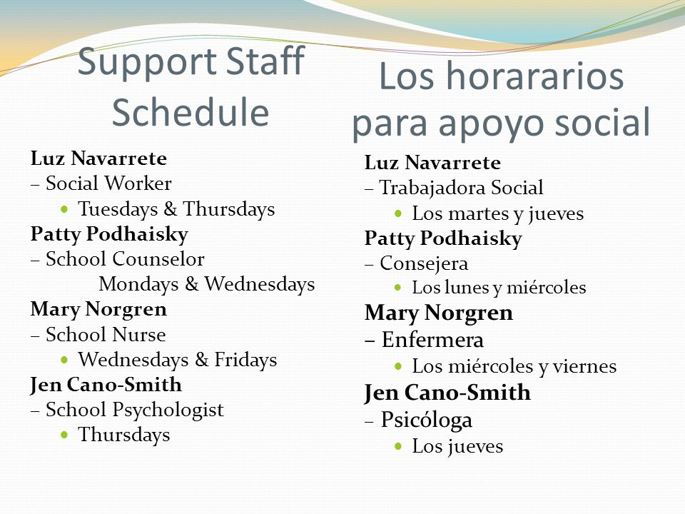 Support Staff Schedule Luz Navarrete – Social Worker Tuesdays & Thursdays Patty Podhaisky – School Counselor Mondays & Wednesdays Mary Norgren – School Nurse Wednesdays & Fridays Jen Cano-Smith – School Psychologist Thursdays Los horararios para apoyo social Luz Navarrete – Trabajadora Social Los martes y jueves Patty Podhaisky – Consejera Los lunes y miércoles Mary Norgren – Enfermera Los miércoles y viernes Jen Cano-Smith – Psicóloga Los jueves