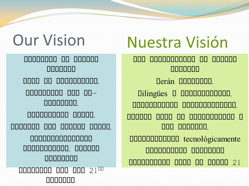 Our Vision Students at Bryant Webster will be successful, bilingual and bi - literate, culturally aware, college and career ready, technologically responsible, global citizens prepared for the 21 st century.