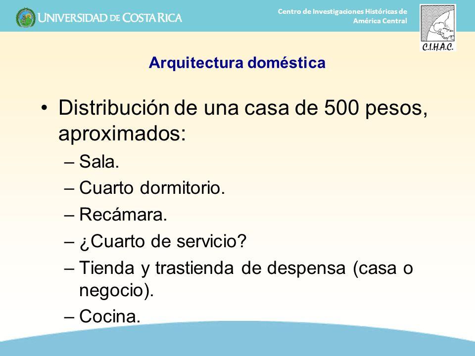 14 Centro de Investigaciones Históricas de América Central Arquitectura doméstica Distribución de una casa de 500 pesos, aproximados: –Sala. –Cuarto d