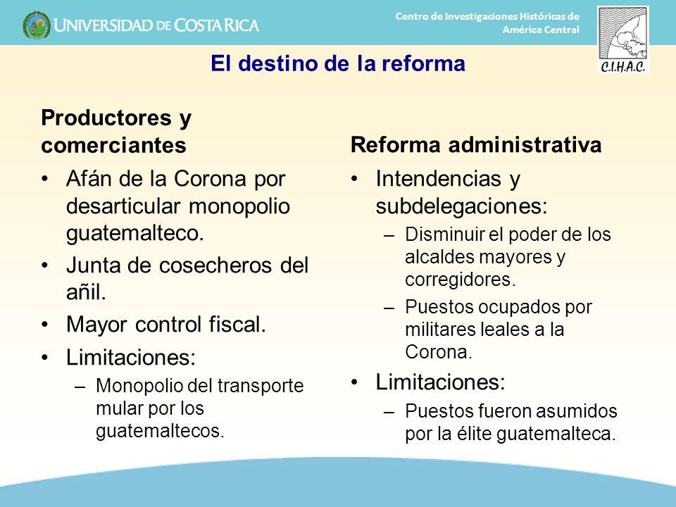 28 Centro de Investigaciones Históricas de América Central El destino de la reforma Productores y comerciantes Afán de la Corona por desarticular mono