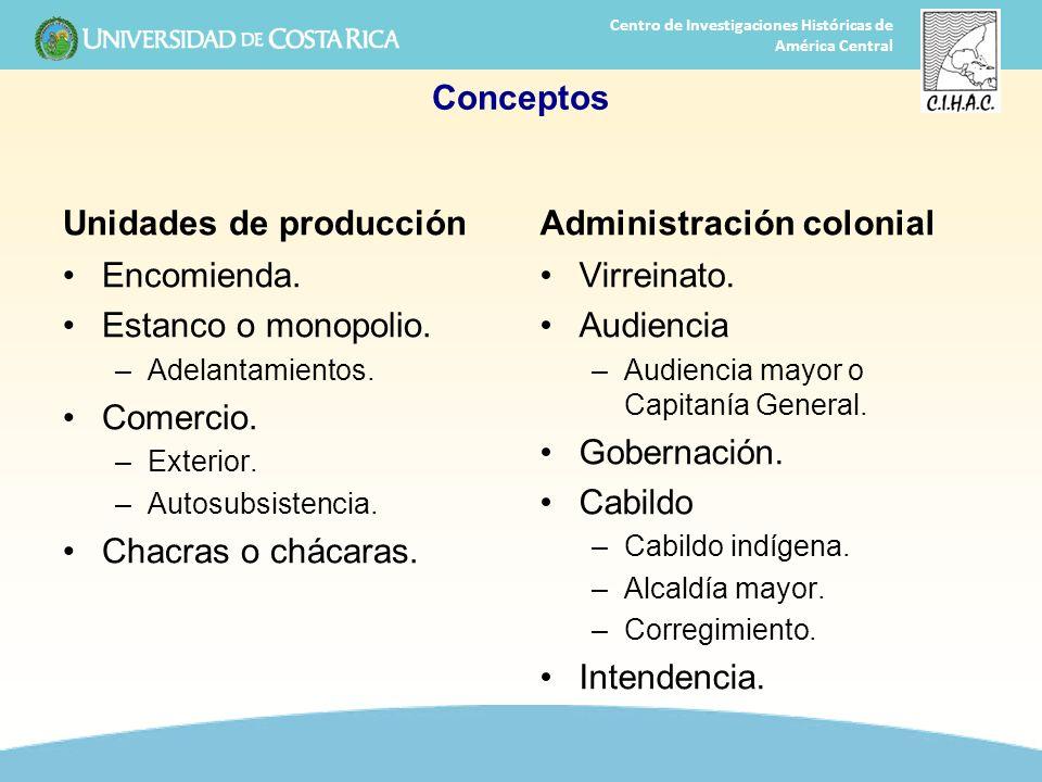 3 Centro de Investigaciones Históricas de América Central Conceptos Unidades de producción Encomienda. Estanco o monopolio. –Adelantamientos. Comercio