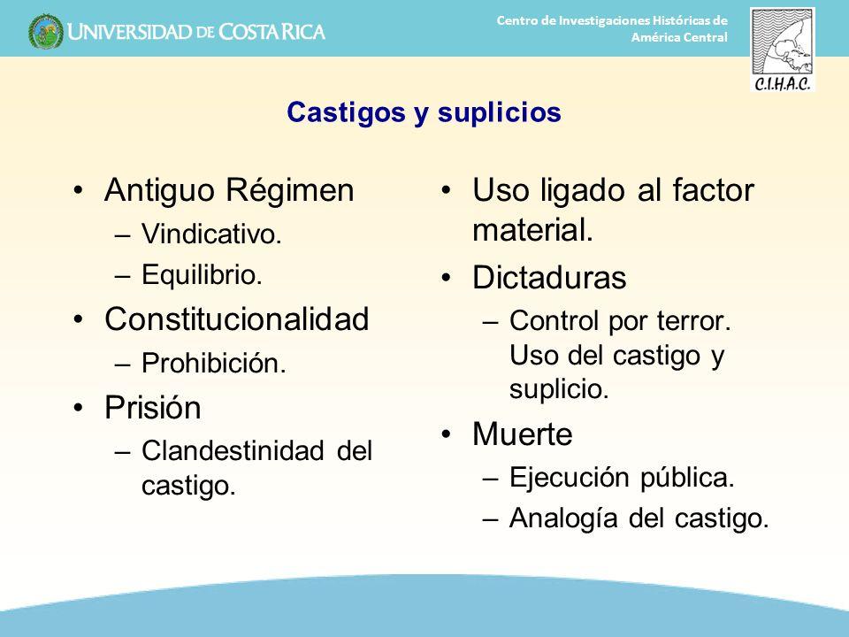 35 Centro de Investigaciones Históricas de América Central Castigos y suplicios Antiguo Régimen –Vindicativo. –Equilibrio. Constitucionalidad –Prohibi