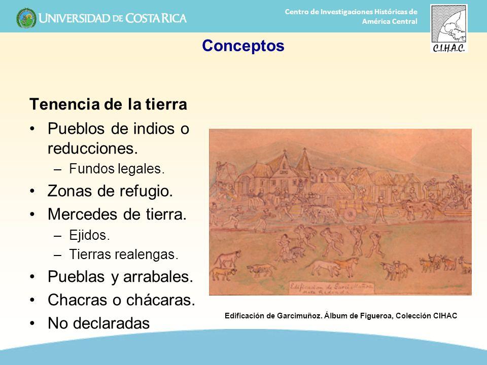 4 Centro de Investigaciones Históricas de América Central Conceptos Tenencia de la tierra Pueblos de indios o reducciones. –Fundos legales. Zonas de r
