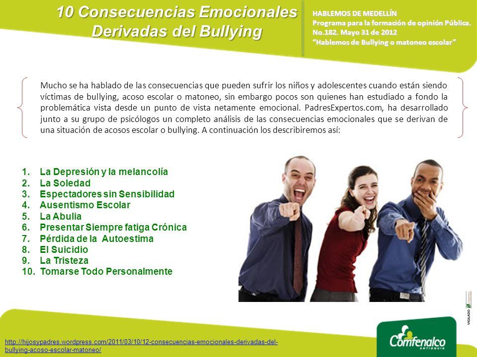 10 Consecuencias Emocionales Derivadas del Bullying HABLEMOS DE MEDELLÍN Programa para la formación de opinión Pública. No.182. Mayo 31 de 2012 Hablem