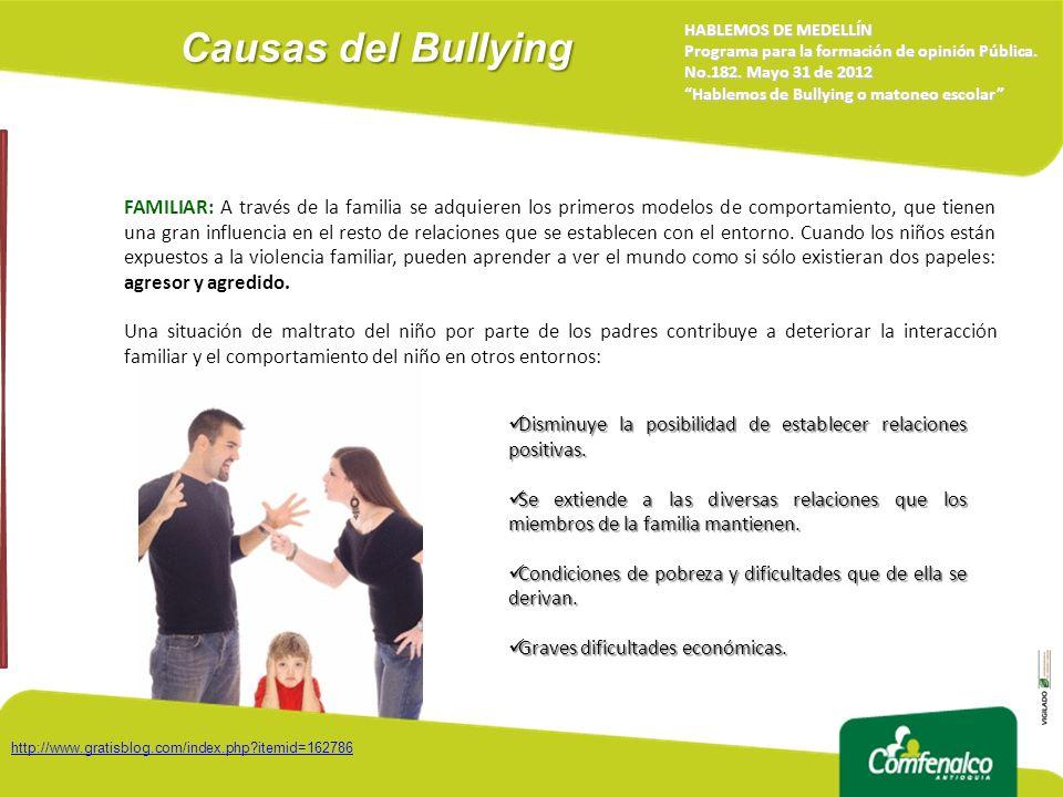 Causas del Bullying HABLEMOS DE MEDELLÍN Programa para la formación de opinión Pública. No.182. Mayo 31 de 2012 Hablemos de Bullying o matoneo escolar