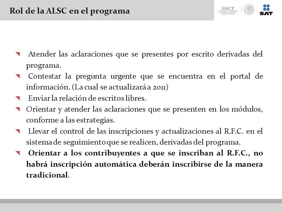 Rol de la ALSC en el programa Atender las aclaraciones que se presentes por escrito derivadas del programa. Contestar la pregunta urgente que se encue