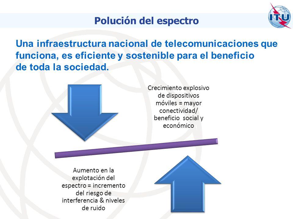 Crecimiento explosivo de dispositivos móviles = mayor conectividad/ beneficio social y económico Aumento en la explotación del espectro = incremento del riesgo de interferencia & niveles de ruido Una infraestructura nacional de telecomunicaciones que funciona, es eficiente y sostenible para el beneficio de toda la sociedad.