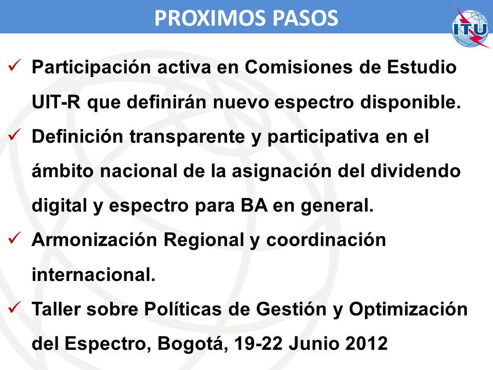 PROXIMOS PASOS Participación activa en Comisiones de Estudio UIT-R que definirán nuevo espectro disponible.