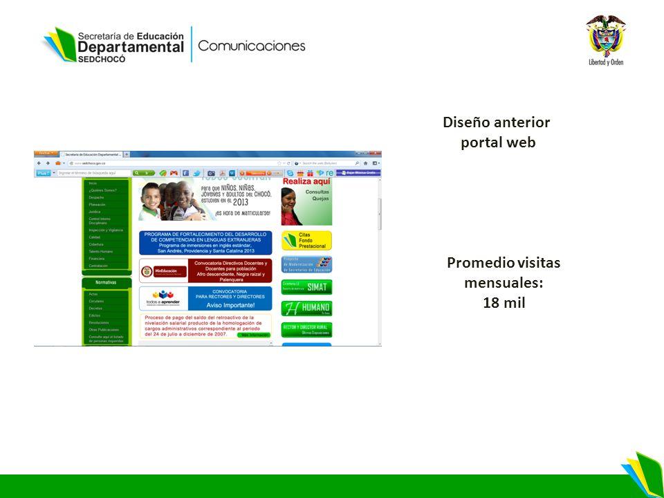 Diseño anterior portal web Promedio visitas mensuales: 18 mil