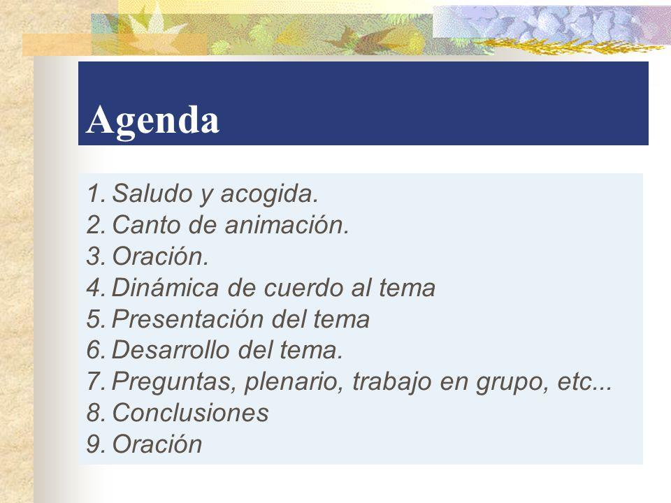 Agenda 1.Saludo y acogida. 2.Canto de animación. 3.Oración. 4.Dinámica de cuerdo al tema 5.Presentación del tema 6.Desarrollo del tema. 7.Preguntas, p