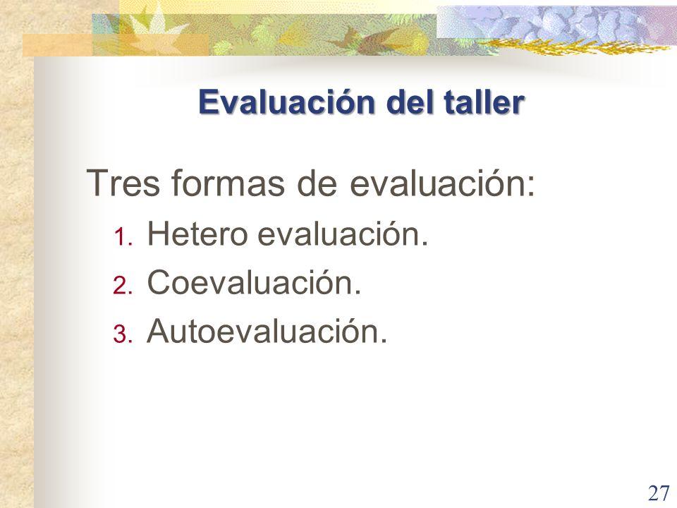 27 Tres formas de evaluación: 1. Hetero evaluación. 2. Coevaluación. 3. Autoevaluación. Evaluación del taller