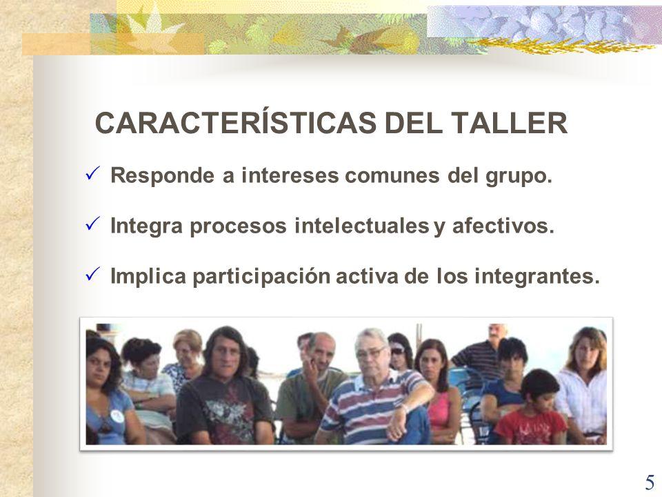 CARACTERÍSTICAS DEL TALLER Responde a intereses comunes del grupo. Integra procesos intelectuales y afectivos. Implica participación activa de los int