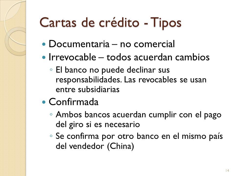 Cartas de crédito - Tipos Documentaria – no comercial Irrevocable – todos acuerdan cambios El banco no puede declinar sus responsabilidades. Las revoc