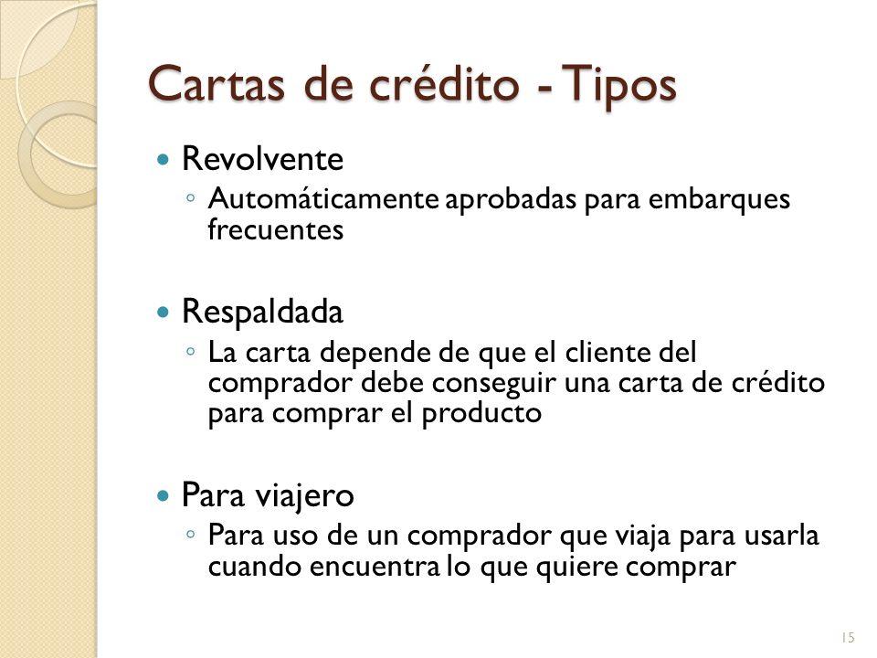 Cartas de crédito - Tipos Revolvente Automáticamente aprobadas para embarques frecuentes Respaldada La carta depende de que el cliente del comprador d