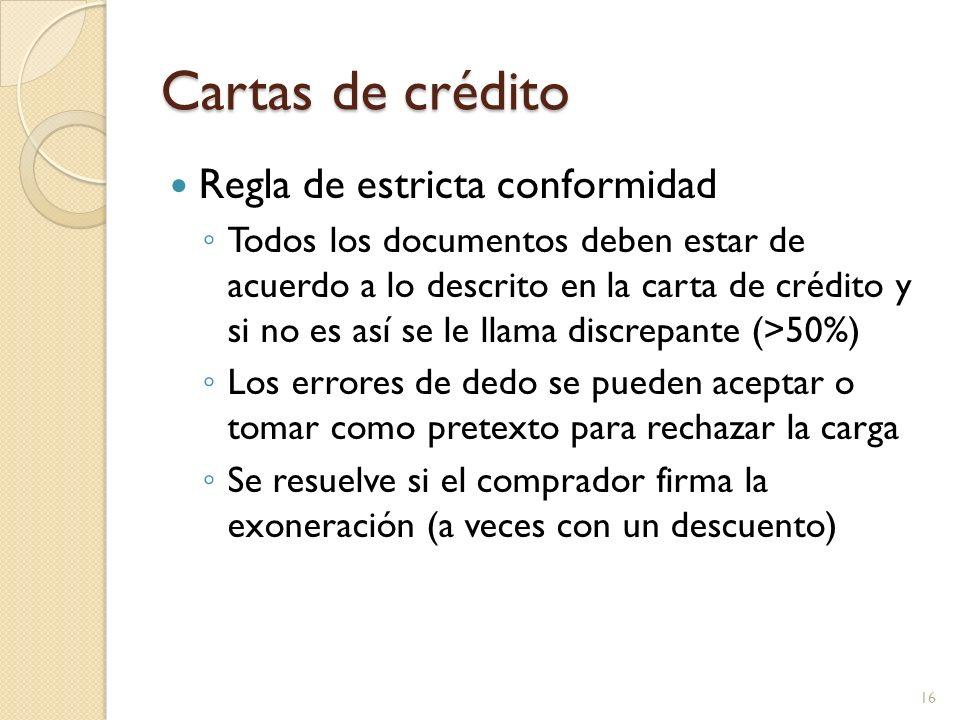 Cartas de crédito Regla de estricta conformidad Todos los documentos deben estar de acuerdo a lo descrito en la carta de crédito y si no es así se le