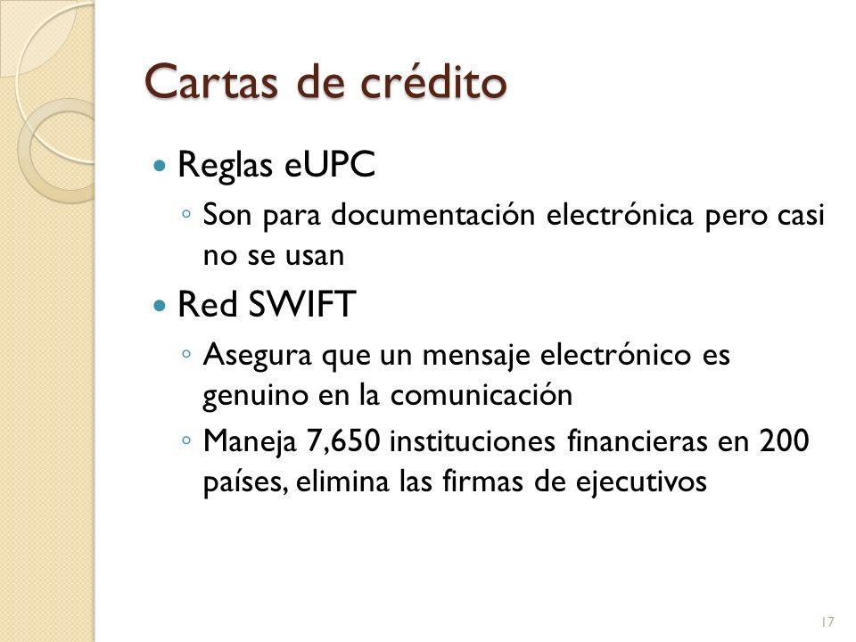 Cartas de crédito Reglas eUPC Son para documentación electrónica pero casi no se usan Red SWIFT Asegura que un mensaje electrónico es genuino en la co