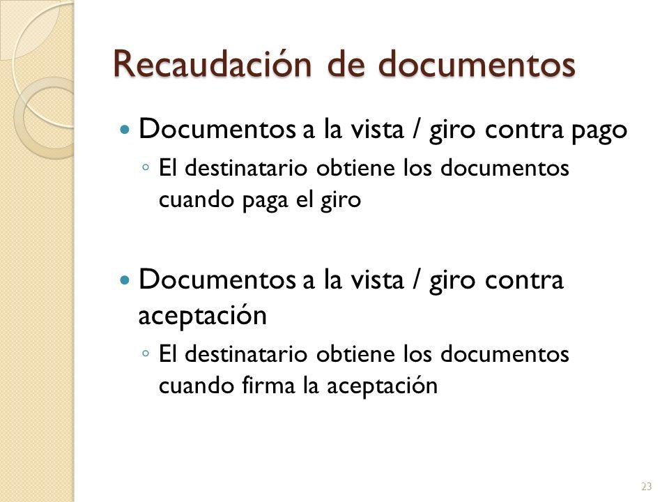 Recaudación de documentos Documentos a la vista / giro contra pago El destinatario obtiene los documentos cuando paga el giro Documentos a la vista /