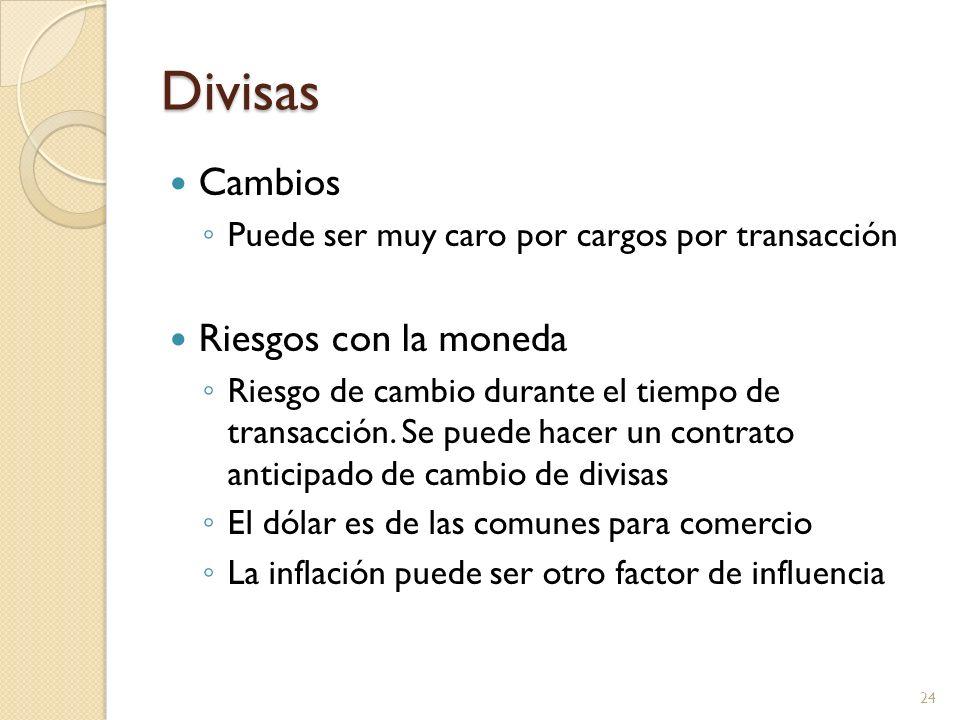 Divisas Cambios Puede ser muy caro por cargos por transacción Riesgos con la moneda Riesgo de cambio durante el tiempo de transacción. Se puede hacer