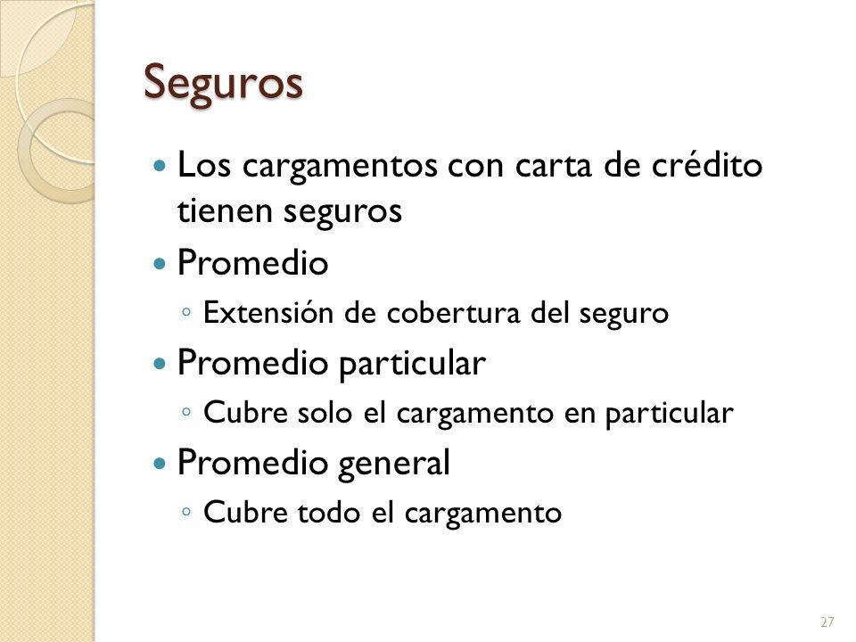 Seguros Los cargamentos con carta de crédito tienen seguros Promedio Extensión de cobertura del seguro Promedio particular Cubre solo el cargamento en
