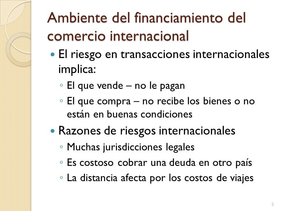 Ambiente del financiamiento del comercio internacional El riesgo en transacciones internacionales implica: El que vende – no le pagan El que compra –