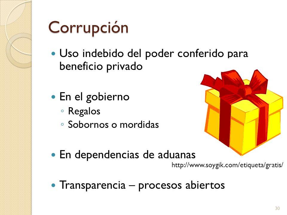 Corrupción Uso indebido del poder conferido para beneficio privado En el gobierno Regalos Sobornos o mordidas En dependencias de aduanas Transparencia