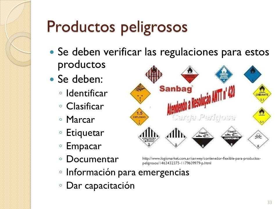 Productos peligrosos Se deben verificar las regulaciones para estos productos Se deben: Identificar Clasificar Marcar Etiquetar Empacar Documentar Inf