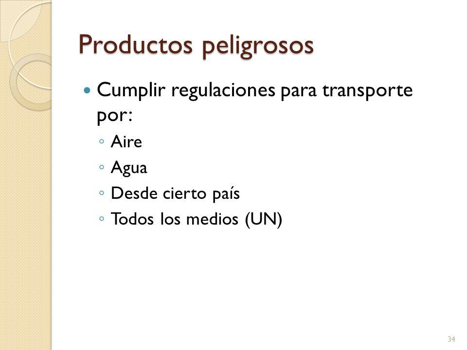 Productos peligrosos Cumplir regulaciones para transporte por: Aire Agua Desde cierto país Todos los medios (UN) 34