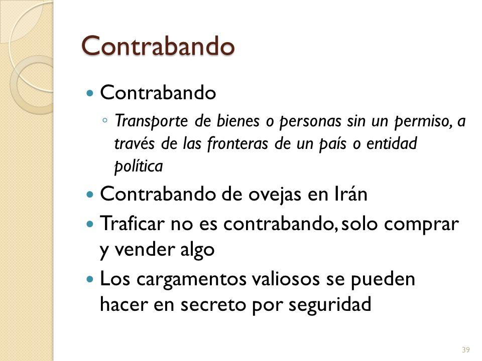 Contrabando Contrabando Transporte de bienes o personas sin un permiso, a través de las fronteras de un país o entidad política Contrabando de ovejas