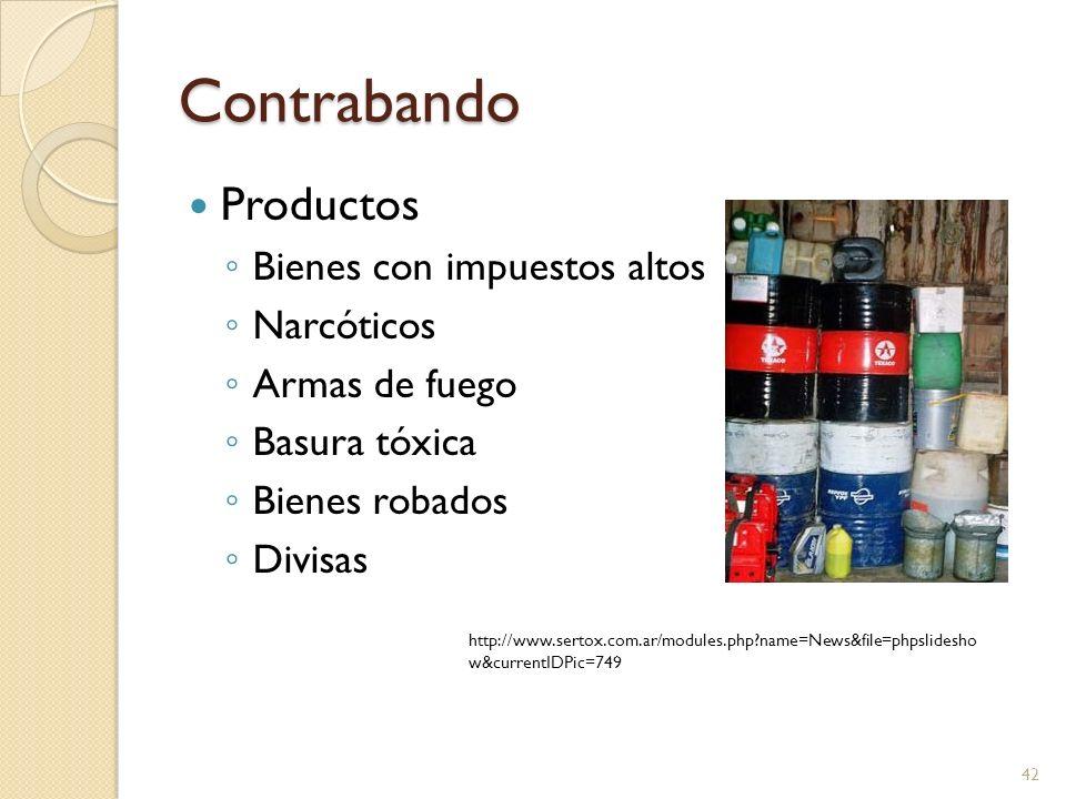 Contrabando Productos Bienes con impuestos altos Narcóticos Armas de fuego Basura tóxica Bienes robados Divisas 42 http://www.sertox.com.ar/modules.ph